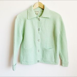 vtg minty green ribbed lambswool cardigan
